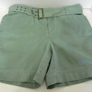 Rafaella Belted Ladies Green Shorts Cotton Size 10